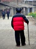 Pengzhou, China: Old Man Walking with Cane Stock Photos
