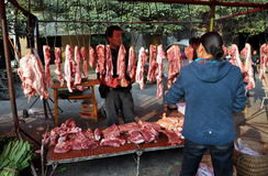 Pengzhou, China: Outdoor Butcher Shop Stock Image