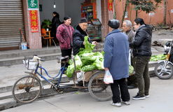 Pengzhou, China: People Buying Cabbages Royalty Free Stock Photos