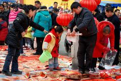 Pengzhou, China: People Buying Decorations Stock Photography