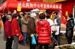 Pengzhou, China: People Buying Food from Street Vendor Royalty Free Stock Images