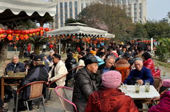 Pengzhou, China: People in City Park Drinking Tea Stock Images