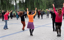Pengzhou, China: People Dancing in Park Stock Photo
