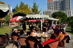 Pengzhou, China: People Drinking Tea in Park Royalty Free Stock Photo