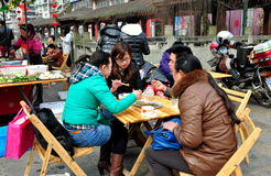 Pengzhou China: People Eating Lunch Royalty Free Stock Photography