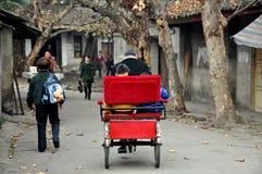 Pengzhou, China: People on Hua Lu Royalty Free Stock Image