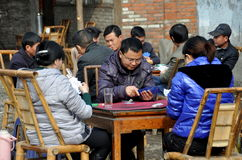 Pengzhou, China: People Playing Cards Royalty Free Stock Photography