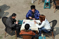 Pengzhou, China: People Playing Cards Royalty Free Stock Photo