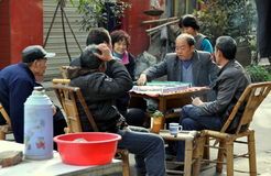Pengzhou, China: People Playing Mahjong Royalty Free Stock Photos