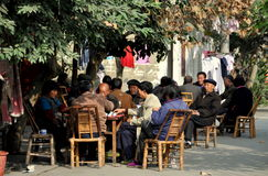 Pengzhou, China: People Playing Mahjong Royalty Free Stock Image