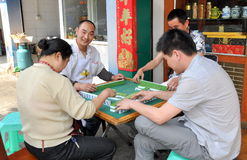 Pengzhou, China: People Playing Mahjong Royalty Free Stock Photography