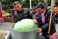 Pengzhou, China: People Selling Cotton Candy Royalty Free Stock Photography