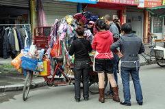 Pengzhou, China: People Shopping at Bicycle Cart Stock Images