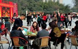 Pengzhou, China: People Sipping Tea & Dancing Royalty Free Stock Images