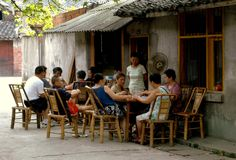 Pengzhou, China: Playing Mahjong on Hua Lu stock image