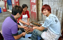 Pengzhou, China: Restaurant Workers Preparing Food Stock Photography