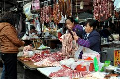 Pengzhou, China: Sausages at Butcher Shop Stock Photo