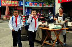 Pengzhou, China: School Boys Buying Snacks Royalty Free Stock Images