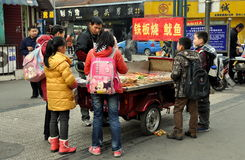 Pengzhou, China: School Children Buying Food Stock Photo