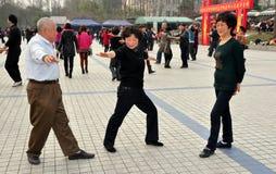 Pengzhou, China: Seniors Dancing in Park Royalty Free Stock Image