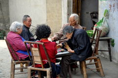 Pengzhou, China: Seniors Playing Cards Stock Images