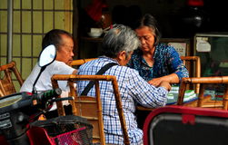 Pengzhou, China:  Seniors Playing Mahjong Royalty Free Stock Photography