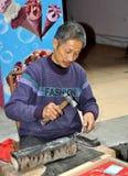 Pengzhou, China: Silversmith at Work Stock Image