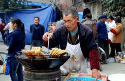 Pengzhou, China: Street Festival Food Vendor Royalty Free Stock Images