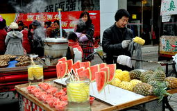 Pengzhou, China: Street Food Vendors Royalty Free Stock Photography