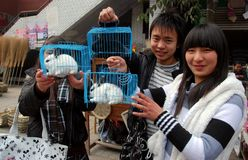 Pengzhou, China: Teens Selling Caged Rabbits Stock Photography