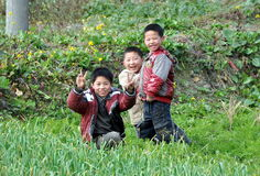 Pengzhou, China: Three Happy Children Stock Image