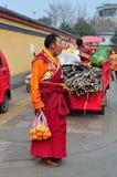 Pengzhou, China: Tibet Monk with Oranges Stock Images