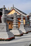Pengzhou, China: Tibetan Style Pagodas at Chinese Temple Stock Photos