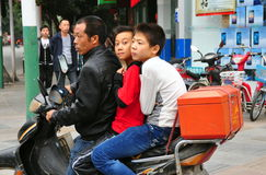 Pengzhou, China: Two Little Boys on Motorcycle Royalty Free Stock Images