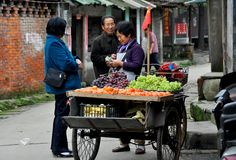 Pengzhou, China: Vendedor ambulante que vende las frutas Fotos de archivo libres de regalías
