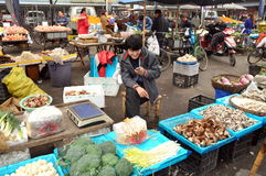 Pengzhou, China: Vendor at Market Hall. Young man checks his cellphone sitting at his stall in the expansive Tian Fu Vegetable, Meat, and Fruit marketplace in Royalty Free Stock Images