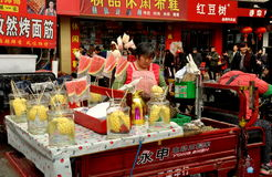 Pengzhou, China: Vendor Selling Pineapple and Watermelon Royalty Free Stock Image