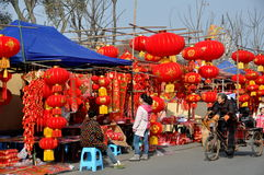 Pengzhou, China: Vendors Selling Chinese New Year Decorations Royalty Free Stock Images