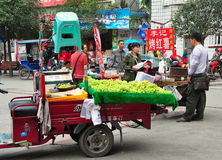 Pengzhou, China: Vendors Selling Grapes Stock Photo