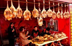 Pengzhou, China: Vendors Selling Pressed Ducks Royalty Free Stock Images