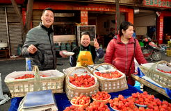 Pengzhou, China: Vendors Selling Strawberries Stock Photos