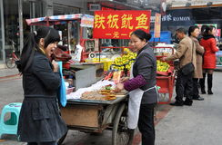 Pengzhou, China: Vendors Selling Street Food Stock Photos