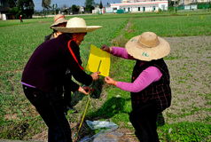 Pengzhou, China: Vrouwen die Gebiedsvlaggen maken Stock Foto's