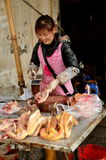 Pengzhou, China: Woman Chopping Chicken Stock Photography