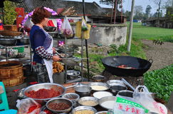 Pengzhou, China: Woman Cooking at Wedding Luncheon Royalty Free Stock Photography