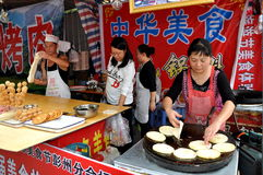 Pengzhou, China: Woman Making Chinese Pizzas Stock Images