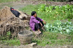 Pengzhou, China:  Woman Resting in Field Royalty Free Stock Photography