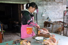 Pengzhou, China: Woman Selling Chickens Royalty Free Stock Photography