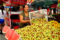 Pengzhou, China: Woman Selling Dates Royalty Free Stock Images