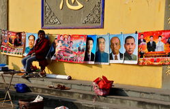 Pengzhou, China: Woman Selling Political Posters Stock Images